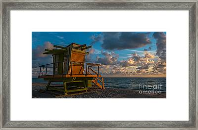 Miami Beach Lifeguard Station Glows From The First Light Of Day - Panoramic Framed Print by Ian Monk