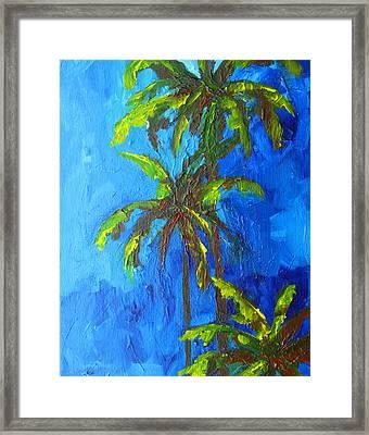 Miami Beach Palm Trees In A Blue Sky Framed Print by Patricia Awapara