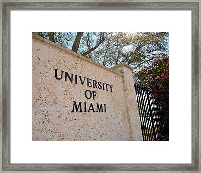 Miami Campus Sign In Spring Framed Print by Replay Photos