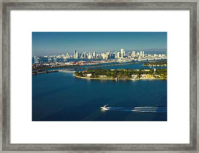 Miami City Biscayne Bay Skyline Framed Print