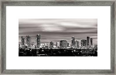 Miami City Skyline Black And White Framed Print