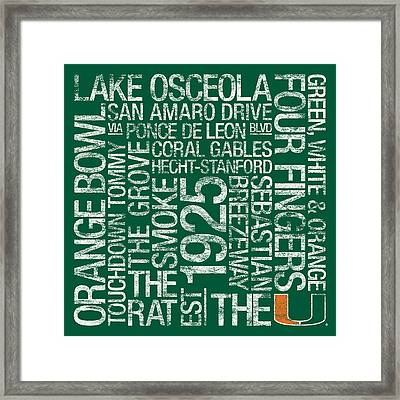 Miami College Colors Subway Art Framed Print by Replay Photos