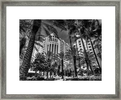 Miami - Deco District 003 Bw Framed Print by Lance Vaughn