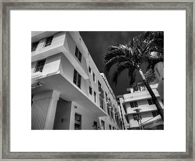 Miami - Deco District 008 Bw Framed Print