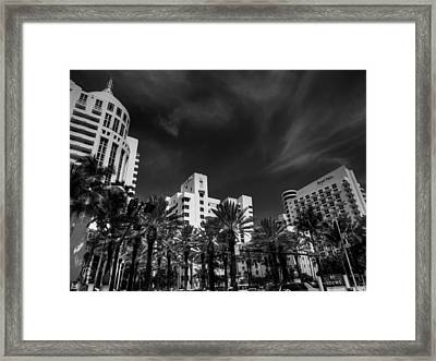 Miami - Deco District 012 Bw Framed Print