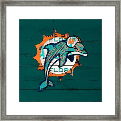 Miami Dolphins Football Team Retro Logo Florida License Plate Art Framed Print