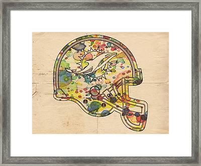 Miami Dolphins Helmet Art Framed Print by Florian Rodarte