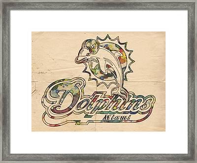 Miami Dolphins Logo Art Framed Print by Florian Rodarte