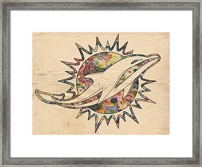 Miami Dolphins Vintage Logo Framed Print by Florian Rodarte