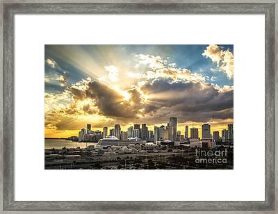 Miami Downtown Metropolis Framed Print