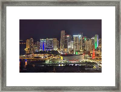 Miami Downtown Skyline American Airlines Arena Framed Print
