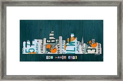 Miami Florida City Skyline Vintage License Plate Art On Wood Framed Print by Design Turnpike