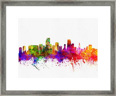 Miami Florida Skyline Framed Print by Aged Pixel