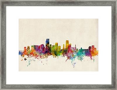 Miami Florida Skyline Framed Print
