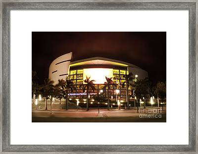 Miami Heat Aa Arena Framed Print by Andres LaBrada