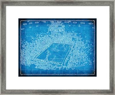 Miami Heat Arena Blueprint Framed Print by Joe Myeress