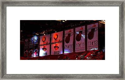 Miami Heat Banners Framed Print by J Anthony
