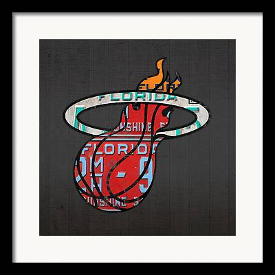 Miami Heat Mixed Media Framed Prints