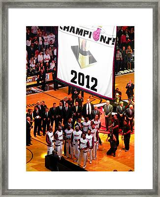 Miami Heat Championship Banner Framed Print by J Anthony