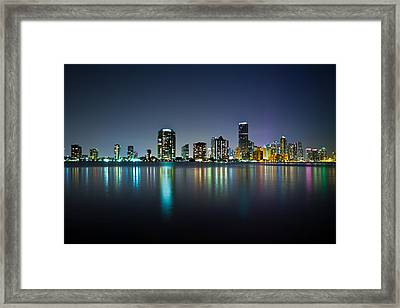 Miami Night Skyline Framed Print