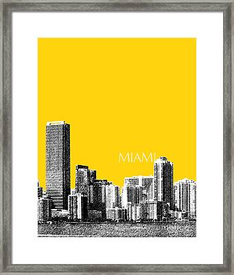 Miami Skyline - Mustard Framed Print by DB Artist
