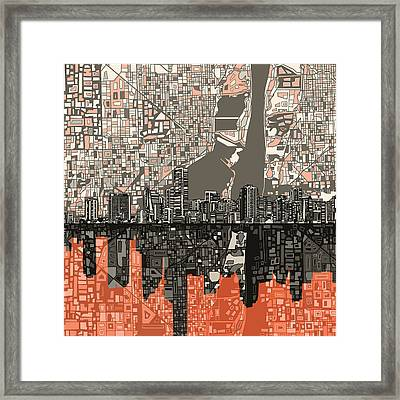Miami Skyline Abstract 2 Framed Print