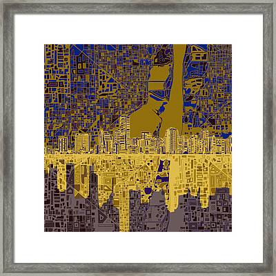 Miami Skyline Abstract 3 Framed Print