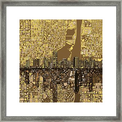 Miami Skyline Abstract 6 Framed Print