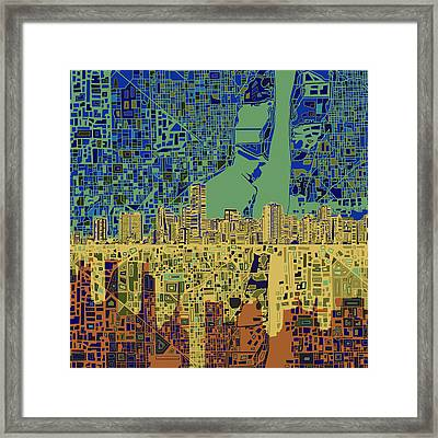 Miami Skyline Abstract 7 Framed Print