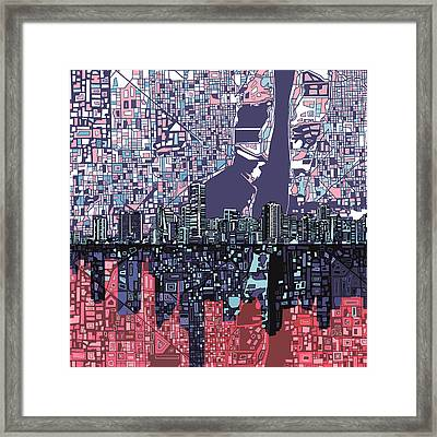 Miami Skyline Abstract Framed Print