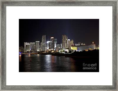 Miami Skyline And Arena At Night Framed Print