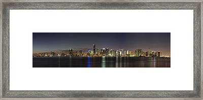 Miami Skyline Framed Print by Andres Leon