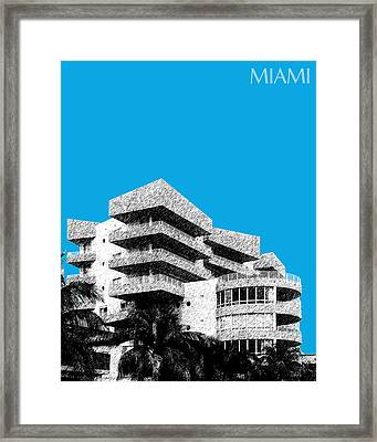 Miami Skyline Art Deco District - Ice Blue Framed Print by DB Artist