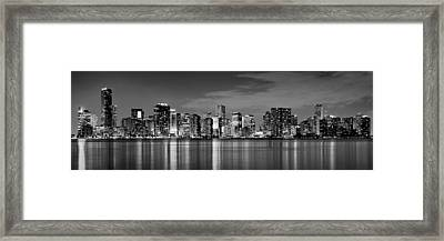 Miami Skyline At Dusk Black And White Bw Panorama Framed Print