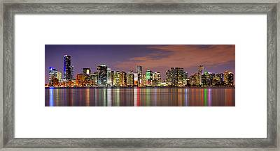 Miami Skyline At Dusk Sunset Panorama Framed Print by Jon Holiday