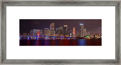 Miami Skyline At Night Panorama Color Framed Print