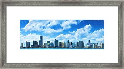 Miami Skyline Framed Print by Carsten Reisinger