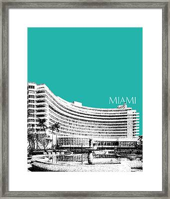 Miami Skyline Fontainebleau Hotel - Teal Framed Print