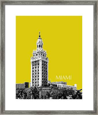 Miami Skyline Freedom Tower - Mustard Framed Print by DB Artist