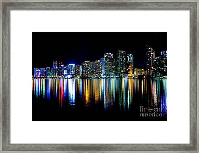 Miami Skyline High Res Framed Print by Rene Triay Photography