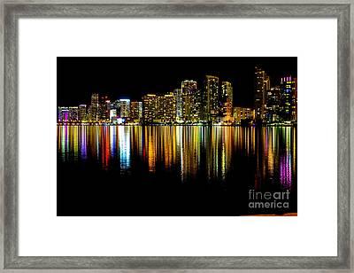 Miami Skyline II High Res Framed Print
