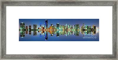 Framed Print featuring the photograph Miami Skyline Panorama by Carsten Reisinger