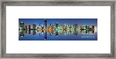 Miami Skyline Panorama Framed Print by Carsten Reisinger