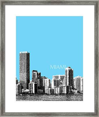 Miami Skyline - Sky Blue Framed Print