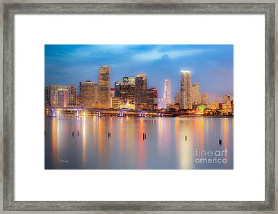 Miami Skyline On A Still Night- Soft Focus  Framed Print
