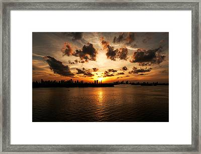Miami Skyline Sunset Framed Print