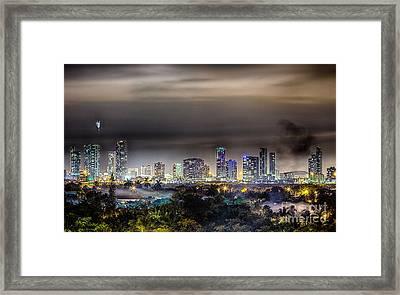 Miami Skyline-the Mystical City Hdr Framed Print