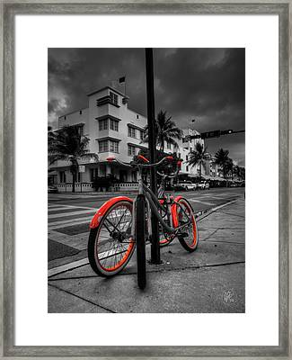 Miami - South Beach Bikes 001 Framed Print by Lance Vaughn
