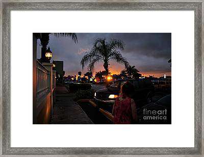 Miami Strip Mall Sunset Framed Print by Andres LaBrada