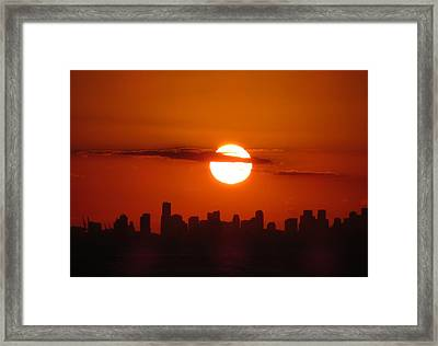 Framed Print featuring the photograph Miami Sunset by Jennifer Wheatley Wolf